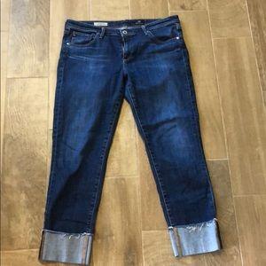 Anthropologie dark wash crop jeans. Size 32